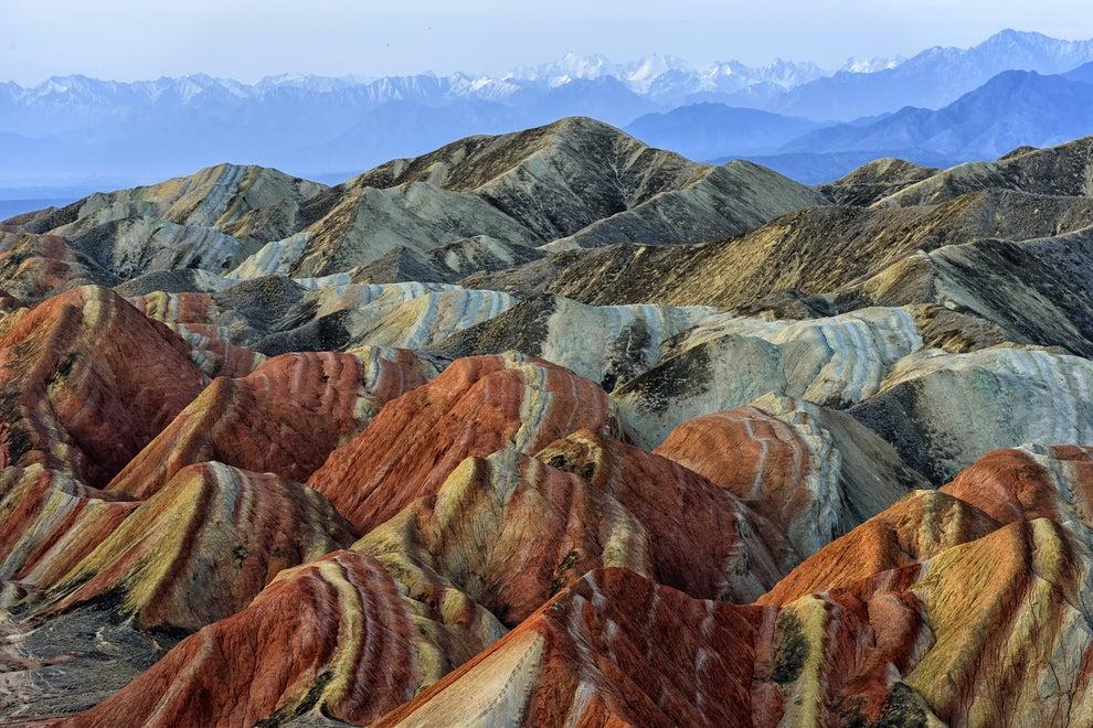 Montañas de arcoíris en Zhangye, China.