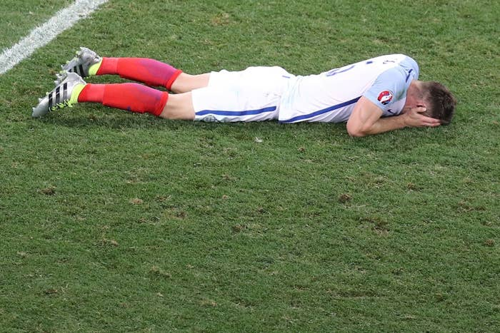 England's defender Gary Cahill reacts after the Euro 2016 round of 16 football match between England and Iceland.