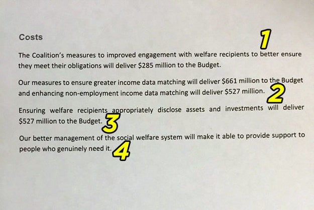 The government released just four sentences to explain its welfare crackdown plan - three if you don't count the last one, which is spin.