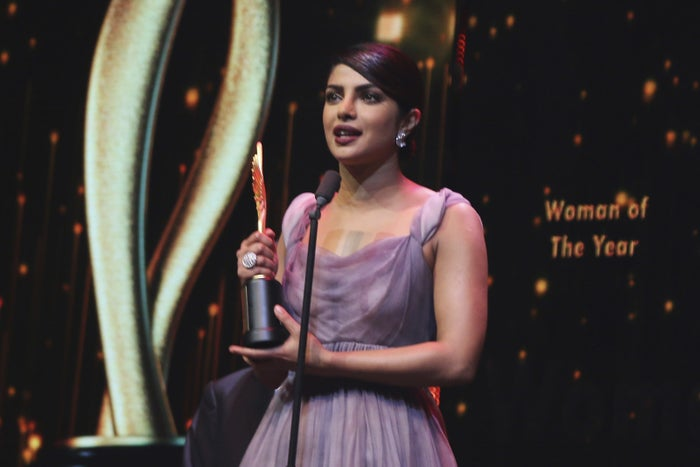 """Here she is, accepting the """"Woman Of The Year"""" award at this year's IIFA awards."""