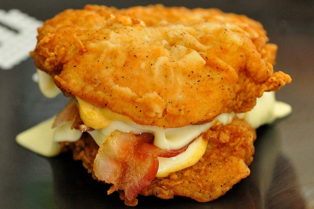 Like when KFC revealed their Double Down chicken bun sandwich. Incredible.