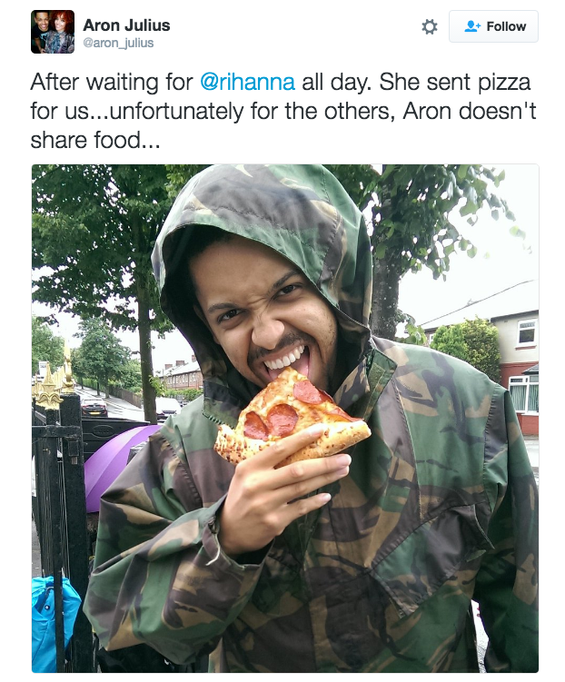 Rihanna isn't the type of Queen to let her people suffer, which is exactly why she hopped on the phone and ordered her fans FREE PIZZA.