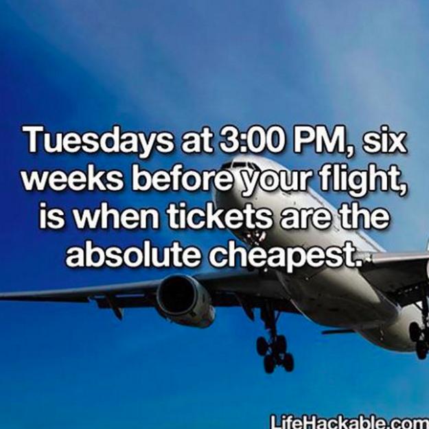 Nejlevnější letenky a akce seženete v úterý ve tři odpoledne šest týdnů před plánovaným odletem.