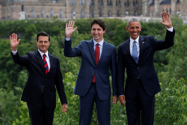 U.S. President Barack Obama, Canadian Prime Minister Justin Trudeau, and Mexican President Enrique Peña Nieto hung out Wednesday at the North American Leaders' Summit in Ottawa.