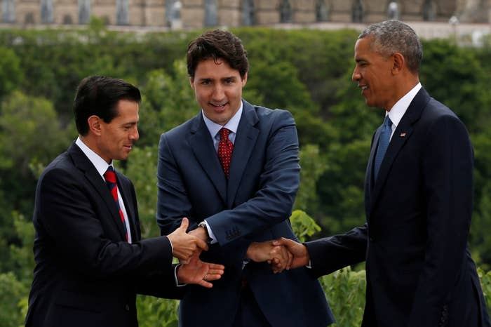 Peña Nieto's hand was just left hanging, Trudeau literally had no idea what he was doing, and Obama looked both confused and as if he were counting down his days left in office.