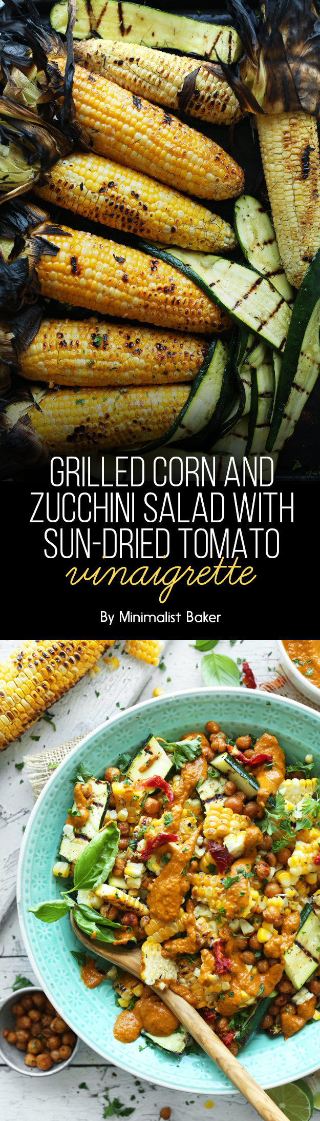 Grilled Corn and Zucchini Salad with Sun-Dried Tomato Vinaigrette