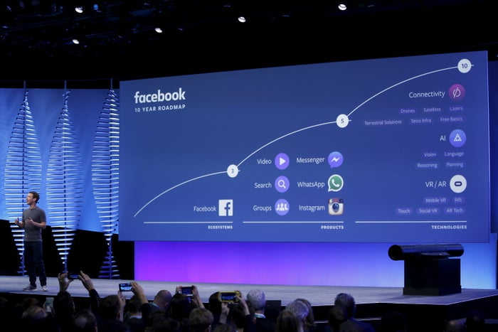 Facebook CEO Mark Zuckerberg speaks onstage during the Facebook F8 conference in San Francisco.