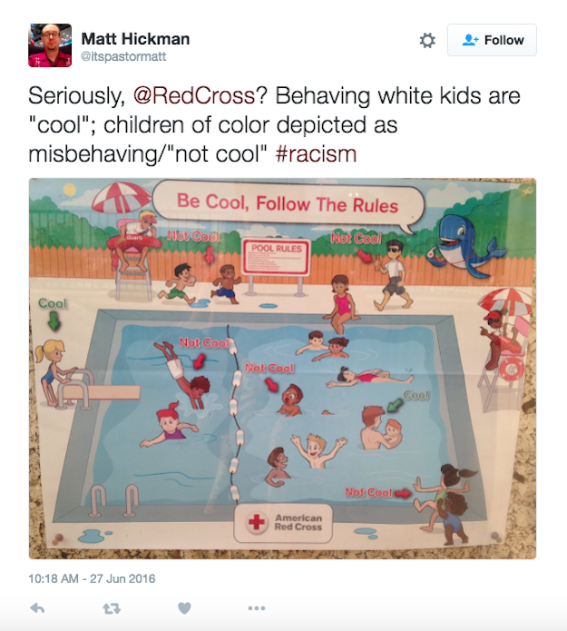 Une affiche portant sur les règles de sécurité à la piscine réalisée par la Croix-Rouge américaine a été retirée après avoir été qualifiée de raciste par plusieurs personnes, poussant l'organisation à présenter ses excuses lundi.