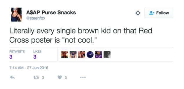 """«Tous les enfants ayant la peau foncée sur cette affiche de la Croix-Rouge ne sont """"pas cool""""», a remarqué une internaute."""