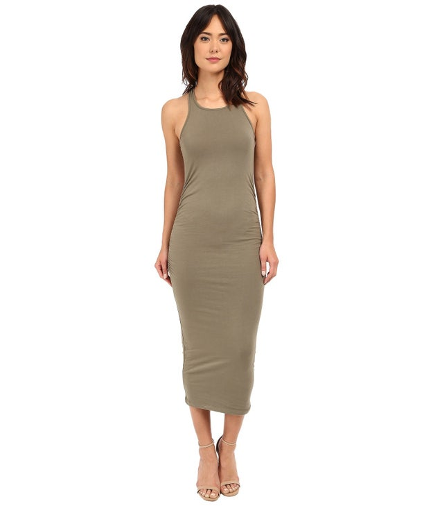 A Michael Stars racerback midi dress with shirred sides.