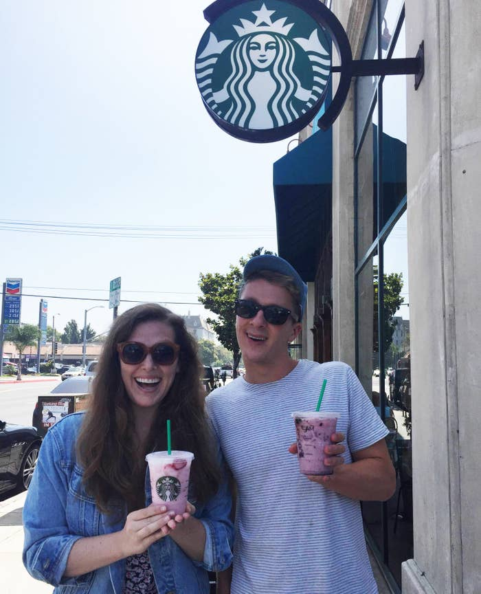 Our barista didn't know what the Pink Drink was when we ordered it at first, but she was happy to make it for us when we explained what it was. As an added bonus, we had a Purple Drink made that was a Very Berry Hibiscus Refresher made with coconut milk.