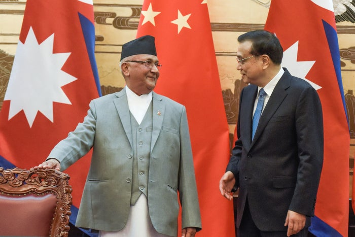 K. P. Sharma Oli (left) meets Chinese premier Li Keqiang in Beijing in March.