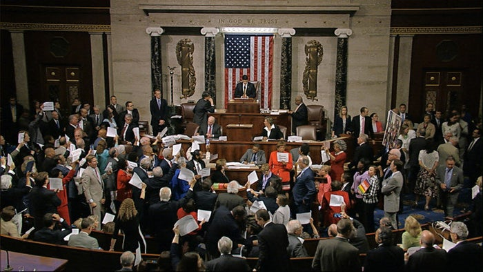 The House floor during the June 22 sit-in.