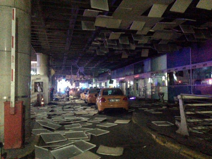 An entrance of the Ataturk Airport in Istanbul after multiple explosions Tuesday.