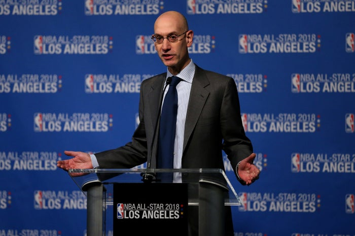 Adam Silver, commissioner of the National Basketball Association, speaks at a news conference on March 22, 2016.