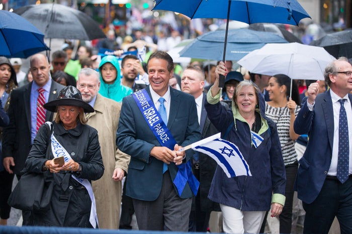 Cuomo marching in a pro-Israel parade in New York on Sunday.