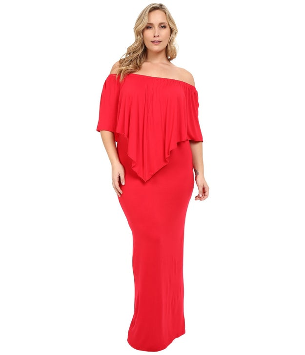 A floor-length dress that rocks the off-the-shoulder trend.