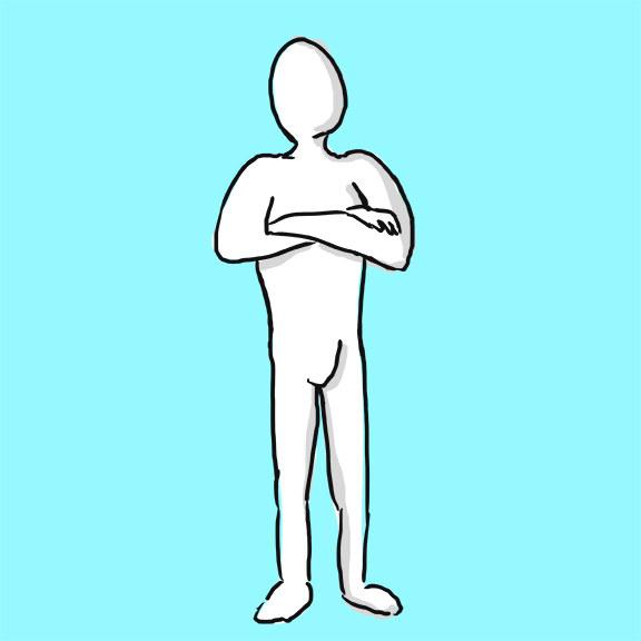 Ele está de pé com os braços cruzados: