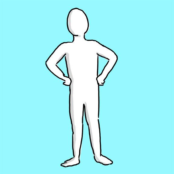 Ele está de pé com os quadris para a frente: