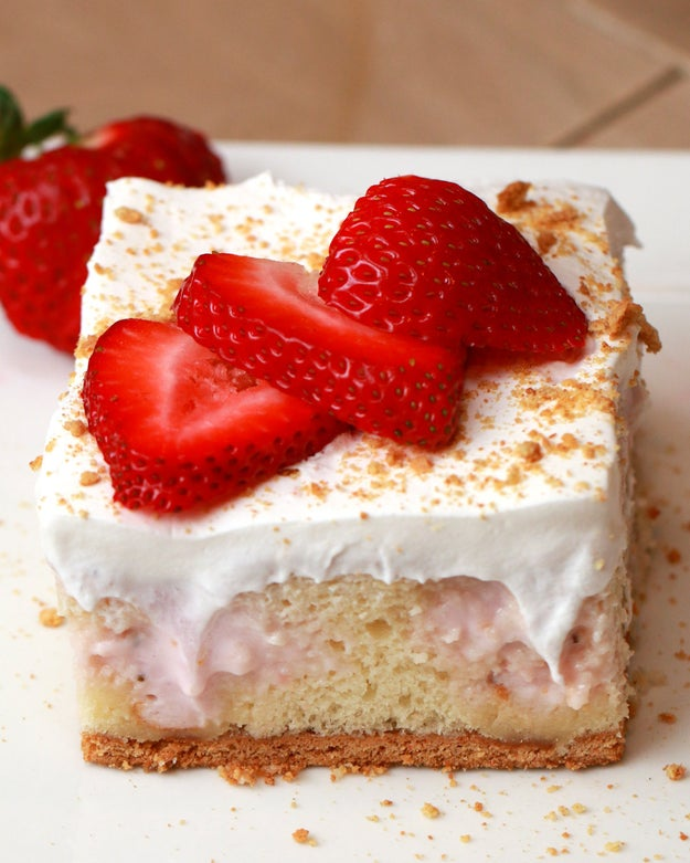 Buzzfeed Tasty Strawberry Cheesecake Poke Cake