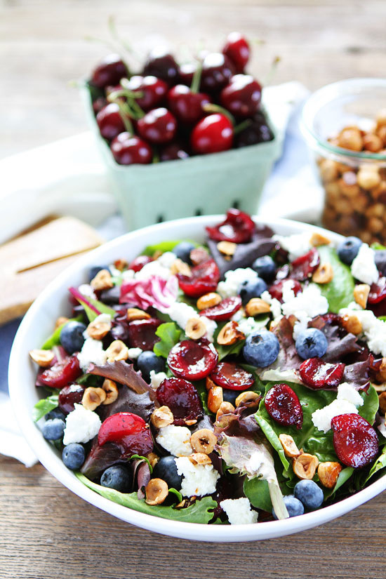 Balsamic Grilled Cherry, Blueberry, Goat Cheese and Candied Hazelnut Salad