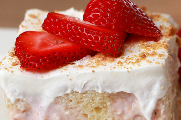 Strawberry Cheesecake Poke Cake Tasty