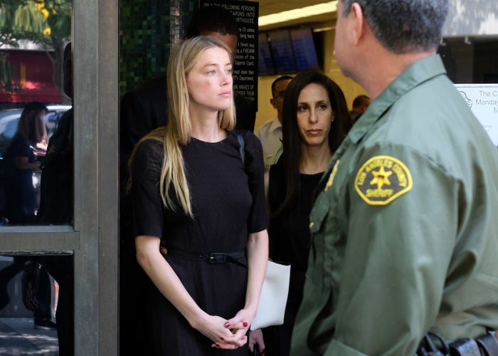 Amber Heard leaves Los Angeles County Superior Court.
