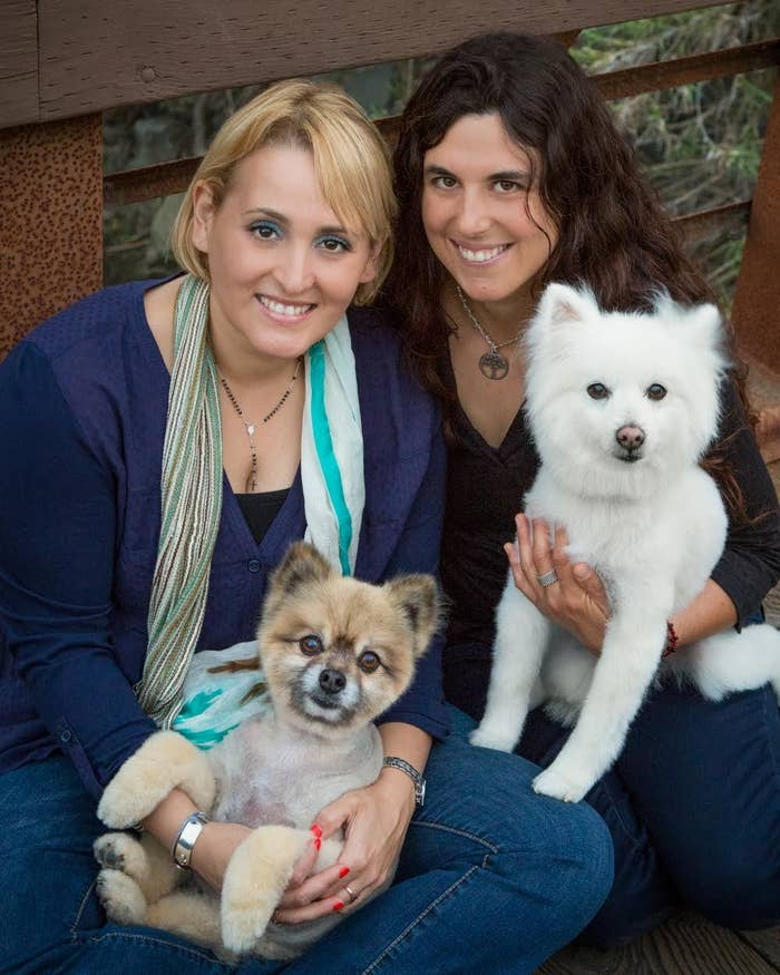 Paola Anderson with Sherman (left) and Sarah Godfrey with Momo (right)