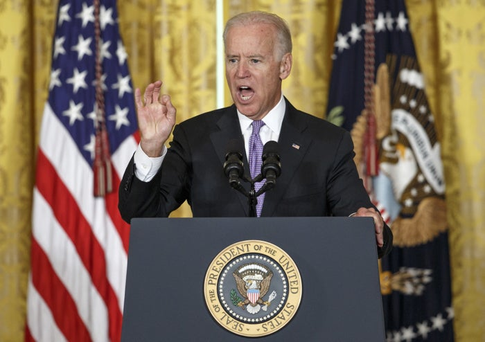 Biden addressing sexual assault on college campuses in 2014.