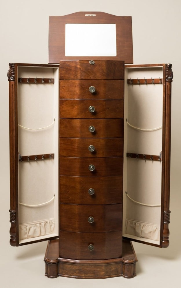 A lockable armoire that can hold all your jewelry.