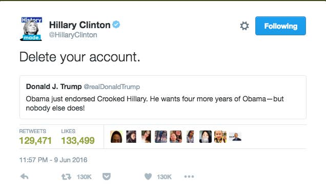 People Freaked Out Over Hillary Clinton's Tweet To Donald Trump