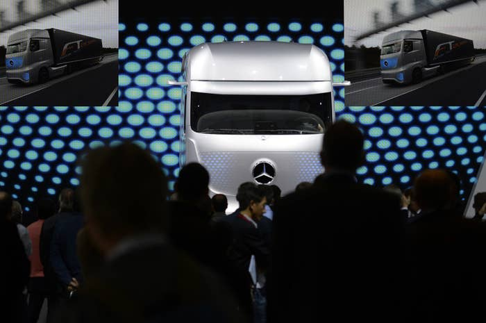 A concept driverless truck at the booth of German truck maker Mercedes Benz in 2014.