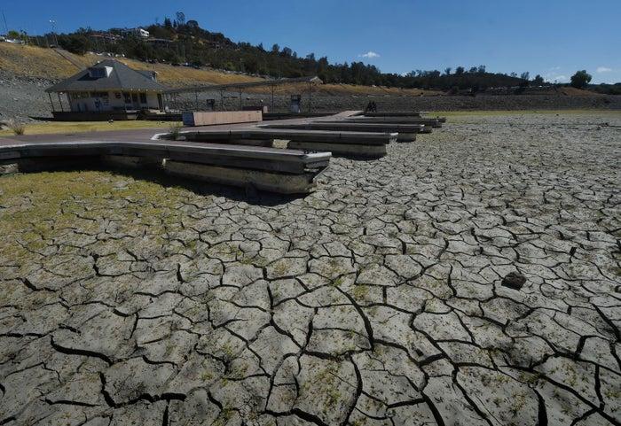 Boat docks sit empty on dry land, as Folsom Lake reservoir near Sacramento on Sep. 17, 2015.