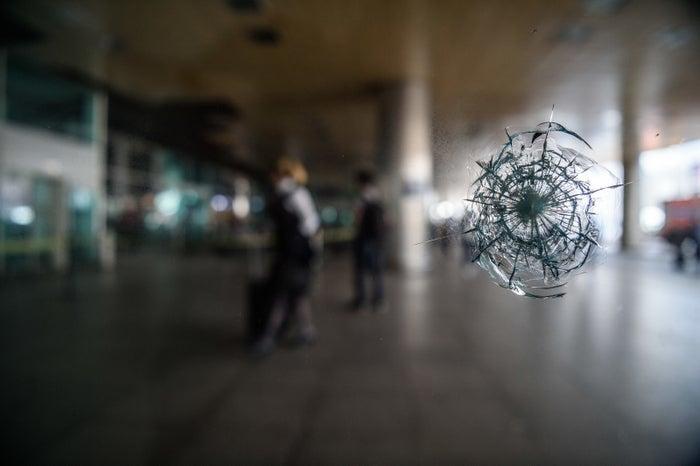 A bullet impact on a window at Ataturk International airport.