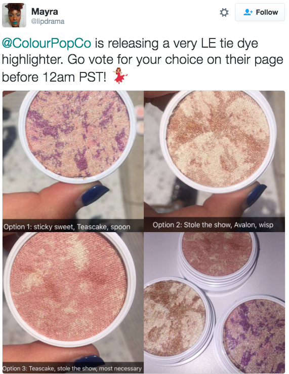 But this week they introduced three new tie-dye highlighters — which is basically just a beautiful blend of three shimmery shades — on Snapchat and asked people to vote on their favorite combination to put into production.