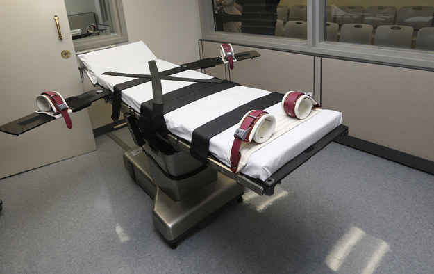 The gurney in the the execution chamber at the Oklahoma State Penitentiary in McAlester, Oklahoma. After botched executions and a damning grand jury report, the state is not expected to hold any executions this year.