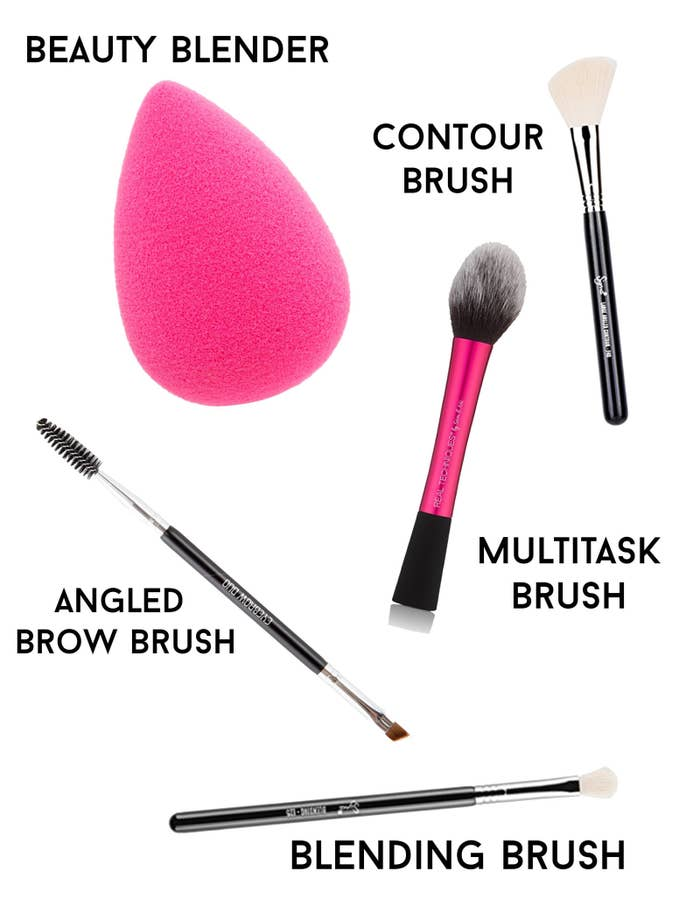 Buying brushes is unnecessarily complicated and expensive. When first starting out, it's helpful to get brushes that can be used for multiple steps. There are many ways you can build your own set, but for starters, beauty vlogger Emily Quack recommends the following budget-friendly makeup brushes:Beauty Blender (dupe) ($7.97): Not technically a brush, but it gives great coverage for foundation and can also be used to blend all makeup from blush to concealer.Angled Brow Brush ($8.75): Good for eyebrows and smudging eyeshadow under and in the creases of eyes.Sigma Blending Brush ($15.20): Great for blending all types of eyeshadow and for nose contouring.Sigma Large Angled Contour ($23): Amazing for contouring and blush application.Multitasking Brush ($4.49): Great for applying powder after contouring and blush.If you want to know more about how to use these brushes, check out this detailed explanation here.