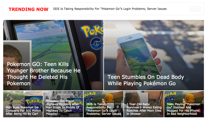 However, unlike the true dead body story, the story about the hoax car accident doesn't offer any details about which highway it occurred on, doesn't link out to any other credible sources, and also falsely claims that the accident led #dontpokemongoanddrive to trend on social media.