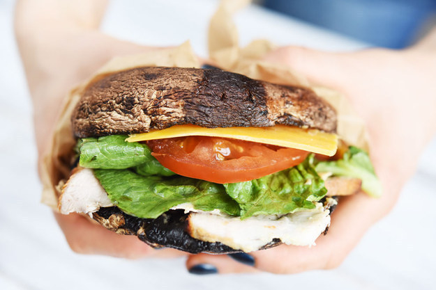 """For a low-carb """"bun"""" that's a little more substantial, try portobello mushroom caps."""
