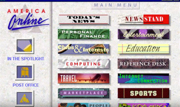 AOL homepage in 1996
