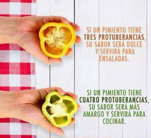 Distingue entre los pimientos que sirven para las ensaladas y los que sirven para cocinar.