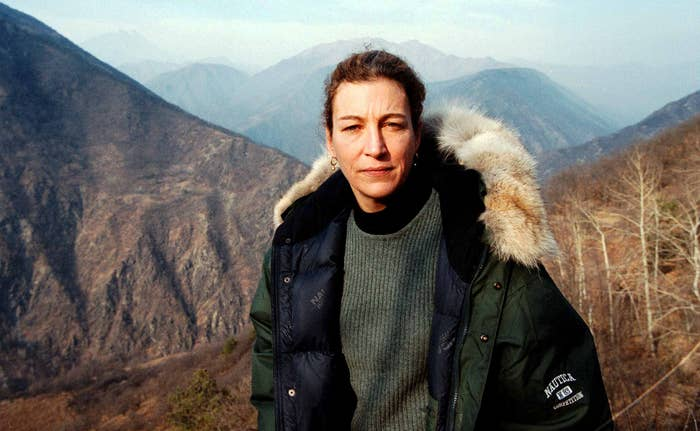 Journalist Marie Colvin photographed in the Chechen mountains in Chechnya in 1999. Two years later, she was blinded in one eye while reporting in Sri Lanka.