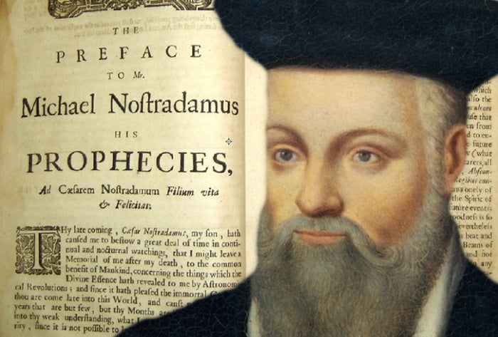 OK, so the prophecies of Nostradamus are notoriously vague and you can pretty much find anything you want in them. But it's not like he can be any more wrong than America's top political pundits, so stay with me.