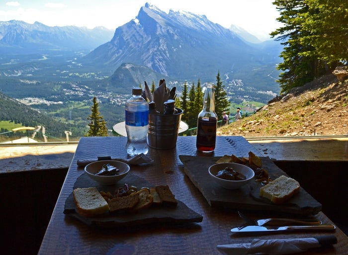 If you want to indulge in fondue with panoramic views of some pretty spectacular mountains, you'll have to lunch at the Cliffhouse Bistro at at Mount Norquay. Snag a seat on the patio for the best views of passing grizzlies!