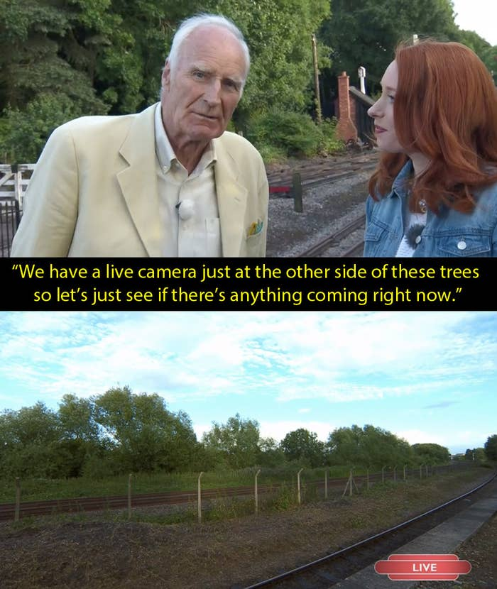 "This moment wasn't taken out of context. It happened. We were supposed to see a train but nothing turned up. ""Never mind,"" joked presenter Peter Snow."