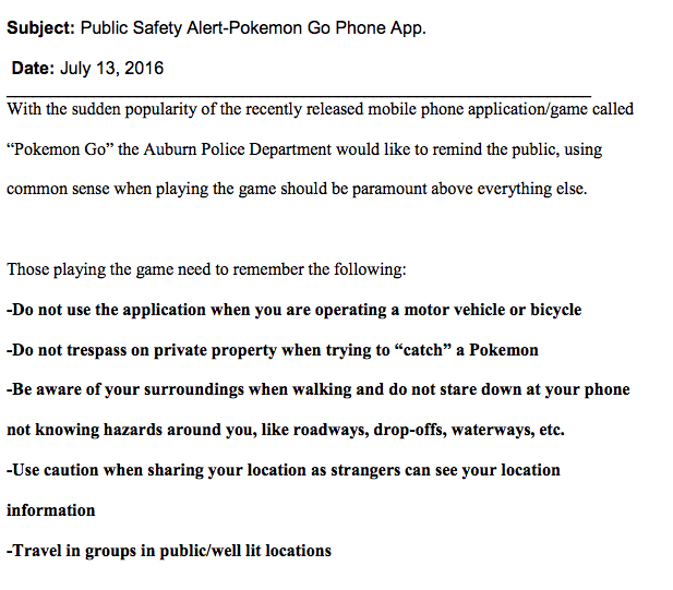 The accident prompted Auburn police, like several other police departments across the country, to issue a public safety alert about Pokémon Go.