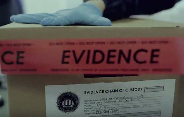"""The Season 2 Easter Eggs began before the season even started! Take a look at this screenshot from the S2 trailer. See that phone number down there at the bottom of the evidence box? 212-804-6003 is a real phone number that you can call. Go ahead! Call it right now! You'll be connected to the E Corp offices, but you're on hold due to high call volumes. Suddenly, the message is interrupted by a distorted message from fsociety that says, """"in order for the light to shine so brightly, the darkness must be present,"""" followed by a series of beeps.That's a Francis Bacon quote (duh, who doesn't know that, right?), and Francis Bacon also devised a code cypher in 1605 called the Bacon Cypher. If you assign A and B values to the tones to fit the cypher, you can use it to decode the random series of beeps that follow the quote:""""AABABBAAABABBABAAABAAAABBABBABBAABABAAABAABBB"""" through the Bacon Cypher becomes """"FSOCDOTSH"""". Hey, that looks kind of like a URL, right?Type www.fsoc.sh into your browser and you're taken to the E Corp corporate website, but after a few minutes an fsociety hack takes over the page! There, you're met with a cryptic message, and an image of an eyeball surrounded by a ring of letters and numbers. With a little bit of coding knowledge, you can convert the letters from hexadecimal to ASCII to get the message: """"LOOK UP"""". At the top of the page, you'll notice a cursor blinking in morse code. Deciphering that code gives you the message """"LEAVE ME HERE"""". Type that phrase into the search bar at the bottom of the page, and you'll be taken to the official Mr. Robot page! The treasure hunt originally led some super-sleuths to Mr. Robot swag, which is all gone now. R.I.P., swag that only geniuses can find. :("""