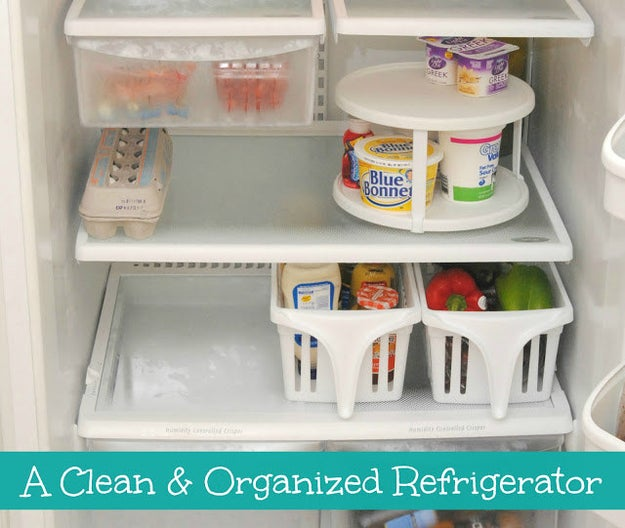 Stock your fridge with bins, baskets, and maybe a lazy Susan or two.