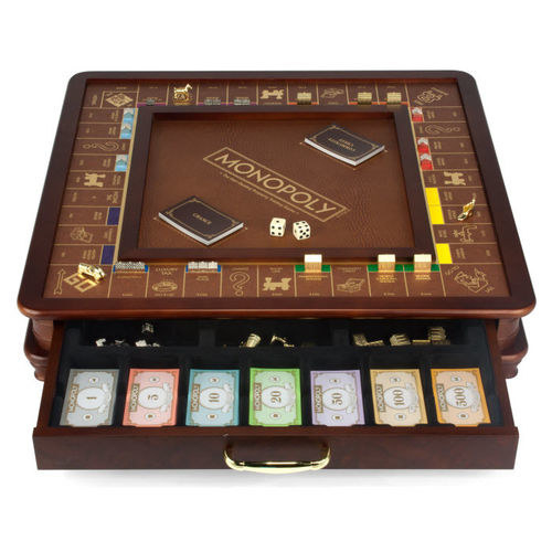 A wood and faux leather Monopoly set that Ron Burgundy would approve of.