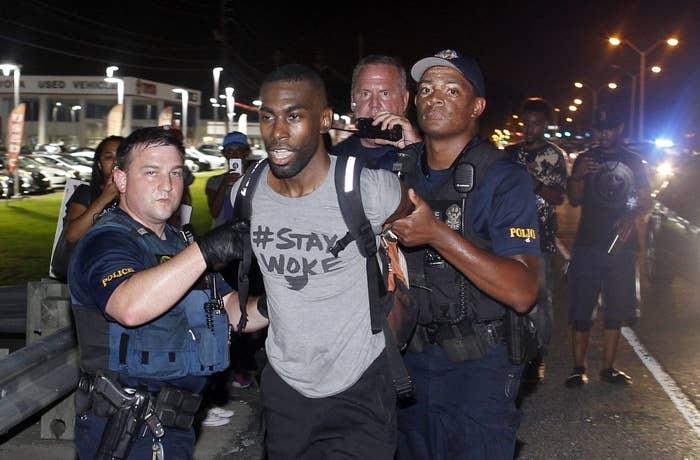 Police arrest activist DeRay McKesson.